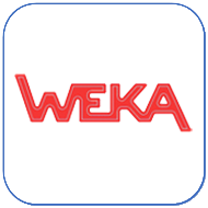 Button logo Weka blauwe rand